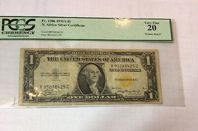 1935A YELLOW SEAL   $1 United States North Africa SILVER Certificate PCGS VF