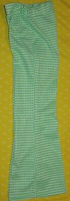 TRUE Vintage 1970's Child's BELL BOTTOM Polyester PANTS Green Check Waist 21-27