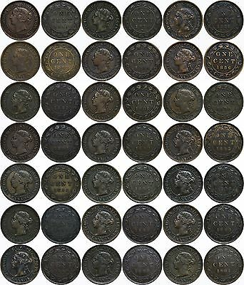 1859-1901 1C Canada 21 Coin Victorian Large Cent Set No RPD/SD VF AVG KM# 1&7