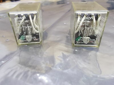 Omron Relay Lot of 2, MY4N, Coil - 24 vdc