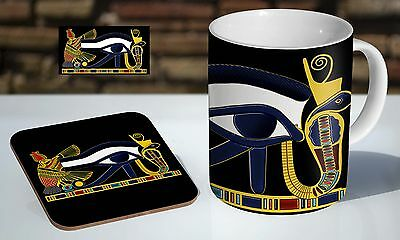 Egyptian Eye Of Horus Egypt Hieroglyph Tea / Coffee Mug Coaster Gift Set