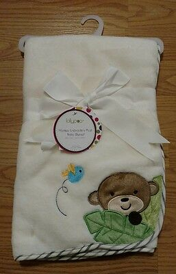 LOLLYPOP Monkey Bird Baby Blanket Infant Soft Boy Girl Embroidered NEW Lovey NWT