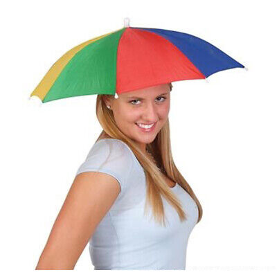 Umbrella Hat Rain Raining Dry Cover Heat Adjustable Colorful Rainbow Folding Cap