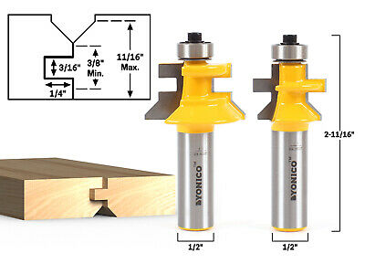 "Flooring 2 Bit Tongue and Groove V Notch Router Bit Set - 1/2"" Shank - Yonico 15"