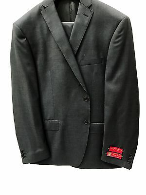 NEW Mens Charcoal Gray Solid Suit Premium 100% Wool Mantoni Modern Fit 2 Button