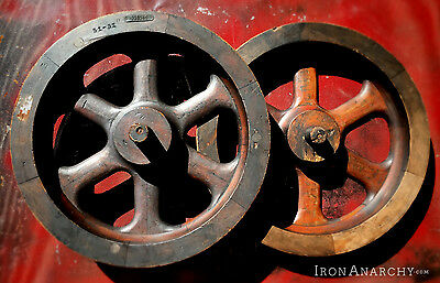 INDUSTRIAL FOUNDRY WHEEL, Vtg Antique Wood Wooden Wall Art Decor Pattern Mold