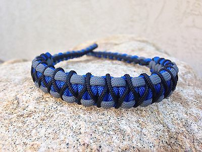 COMPOUND BOW WRIST SLING Royal Blue Gray With Black Micro Braid X Weave
