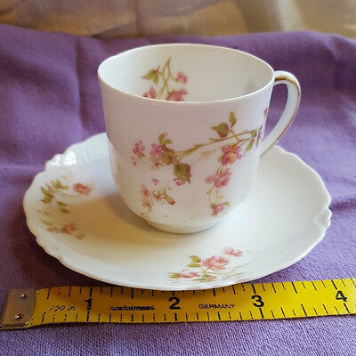 Miniature Tea Cup and Saucer - Pink Floral Design H&C Selb Bavaria