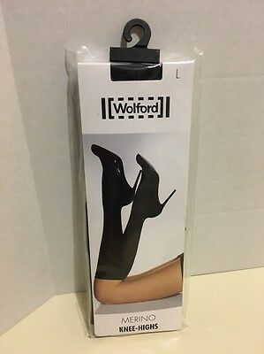 New Wolford Merino Knee Highs socks Color: Black Size: Large 31310. (S2)