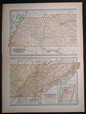 Original 1897 Map of Tennessee by The Century Co