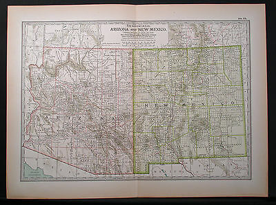 Original 1897 Map of Arizona and New Mexico by The Century Co