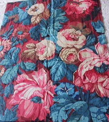 Antique French 19thC Hand Blocked Big Rose Floral Old Chintz Printed Fabric