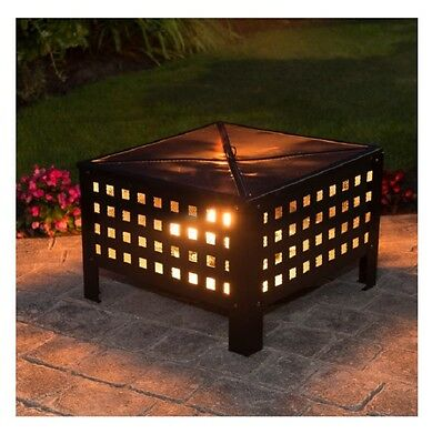 Colorado - Garden Outdoor Black Metal Square Log Burner