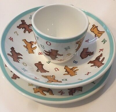 Tiffany & Co Baby Alphabet Bear Tiffany Teal Color Set. Plate/ Bowl & Cup.