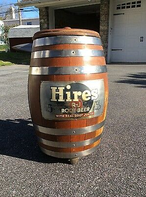 VIntage Hires Root Beer Wood Barrel Soda Fountain Dispenser w/Stand