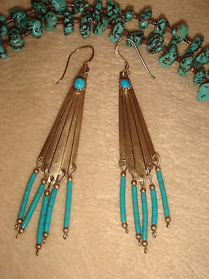 """Vtg. Old Pawn Navajo 3 1/4"""" Sterling Silver & Turquoise Heishi Dangle Earrings"""