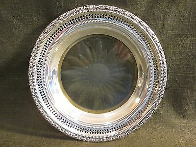 "Vintage FRANK WHITING Sterling Silver TALISMAN ROSE 6.5"" WINE COASTER"