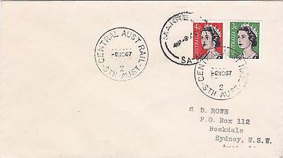 QEII 3c & 4c coils on 1967 cover cancelled with 'CENTRAL AUST RAIL' cds LM160