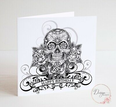 SKULL AND ROSES Birthday Card - Biker Tattoo Rocker Goth Punk