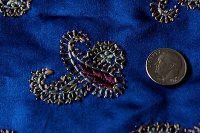 Antique 19thC French Or Persian Hand Embroidered Silk~Indigo Ground~Dolls,Home
