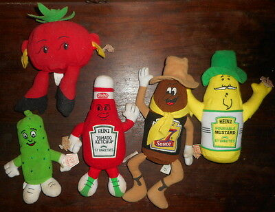 HEINZ 57 Varieties LOT Plush Beanies MUSTARD Sauce PICKLE Tomato Ketchup Toy