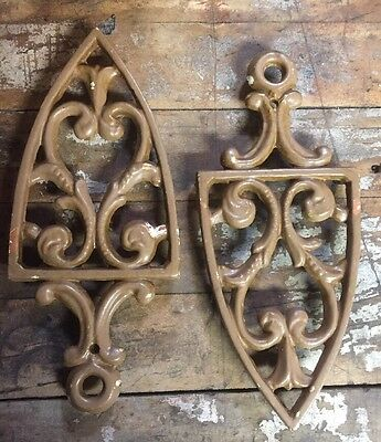 Vintage Pair 1948 JZH Cast Iron Trivets Iron Rest Ornate Chippy Metal