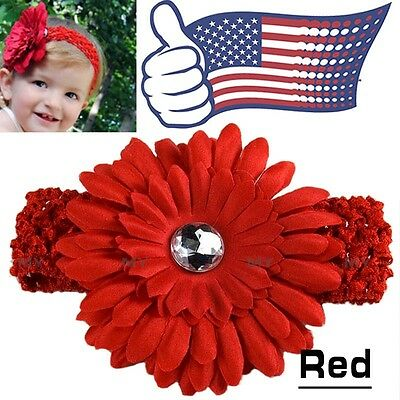 Red Kids Baby Headband Toddler Lace Bow Flower Hair Band Accessories Headwear US