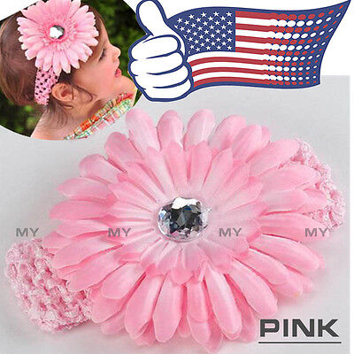 Lovely Pink Baby Headband Toddler Infant Hair Bow Band Accessories+Daisy Flower