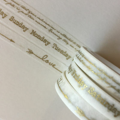 Washi Tape Thin Skinny Gold Trio - Days Love Arrows Script 7Mm X 5Mtr Plan Craft