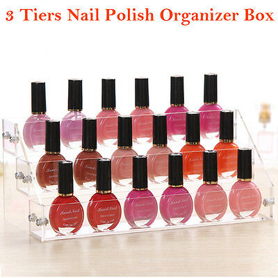 Acrylic Makeup Nail Polish Clear Storage Organizer Rack Display Stand Holder