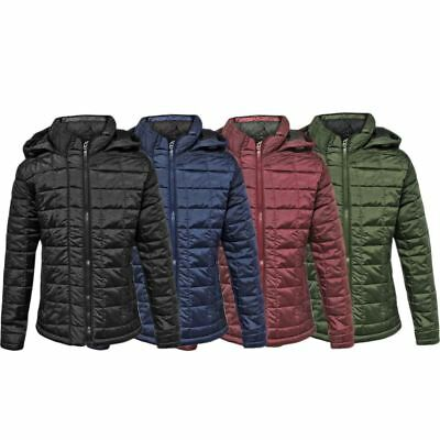 Kids Puffer Quilted Boys Padded Girls Childrens Puffa Bubble Hooded Jacket Coat