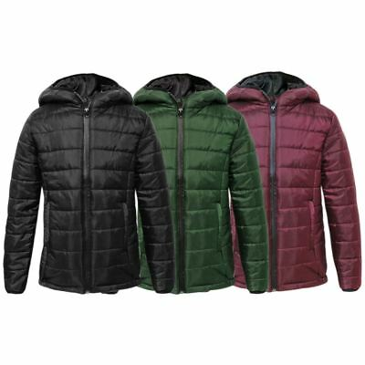 Kids Puffer Boys Quilted Bubble Childrens Puffa Hooded Girls Padded Warm Jacket