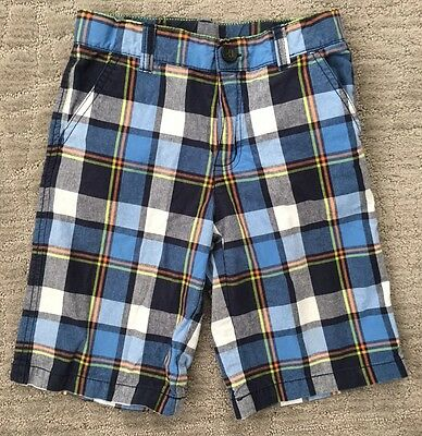 Gymboree Blue Orange Yellow Plaid Adjustable waist Boys Shorts size 7