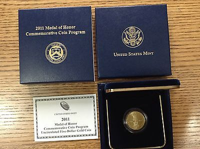 2011 Medal of Honor Commemorative Uncirculated $5 Gold Coin Box & COA