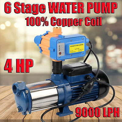 4HP Multi Stage High Pressure Auto Water Pump Garden House Rain Tank Irrigation