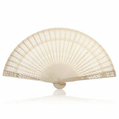 Summer Vintage Folding Bamboo Wooden Carved Hand Fan Wedding Bridal Party E3Q6