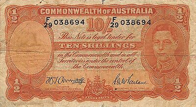 Australia 10/-  ND. 1942 P 25b  Series F/29  circulated Banknote
