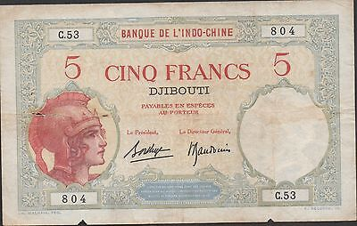 French Somaliland 5 Francs ND. 1926 P 6b  Circulated Banknote Rare
