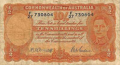 Australia 10/-  ND. 1942 P 25b Series F/27  circulated Banknote
