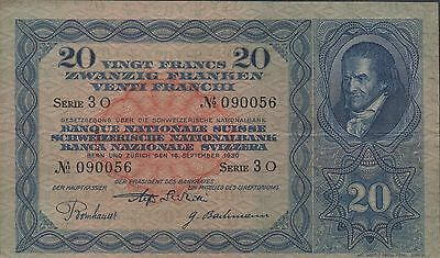 Switzerland 20 Francs  16.9.1930  P 39b  Series 3 O  Circulated Banknote