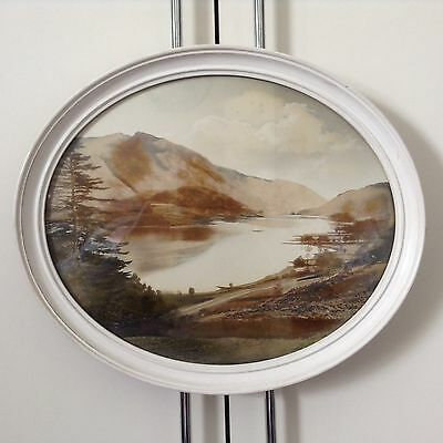 Antique Oval Framed Scenic Lake Valley View Photograph Hand Tinted 16 X 13.5""