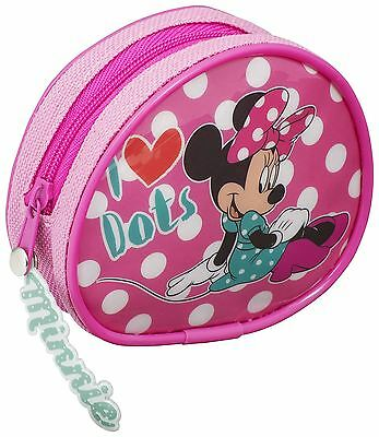 MINNIE MOUSE | Girls Coin Purse Round Zip Up I LOVE DOTS Money Pouch