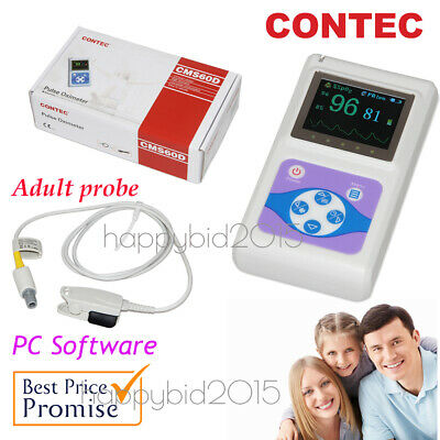 Contec CMS60D Handheld Pulse Oximeter for Adult use,Pc software,Spo2 Probe.