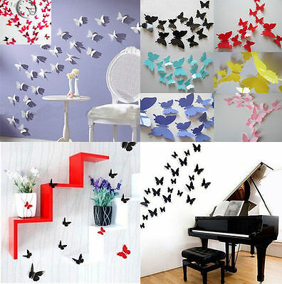 HUAC 12Pcs 3D DIY Wall Sticker Stickers Butterfly Home Decor Room Decorations