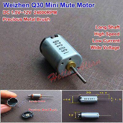 DC 1.5V-12V Mute Motor High Speed Low Current Precious Metal Brush Long Shaft