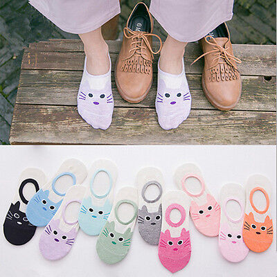 1 Pairs Soft Women Lady Girl's No Show Invisible Socks Cartoon Cat New Cotton