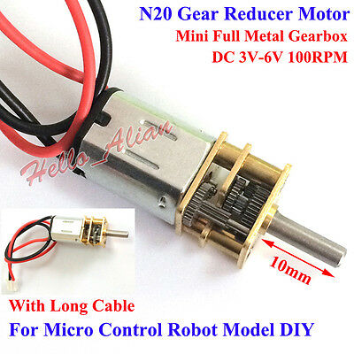 Mini N20 Gear Reducer Full Metal Gearbox Motor with Long Cable for Robot Car DIY