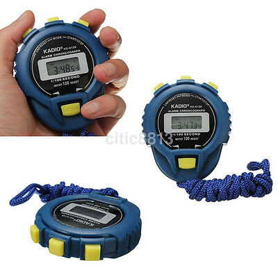 LCD Chronograph Digital Timer Stopwatch Sport Counter Odometer Watch Alarm Blue^