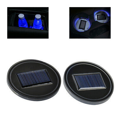 2pcs Car Solar Energy Cup Holder Bottom Pad Mat Blue LED Light Cover Trim Lamp