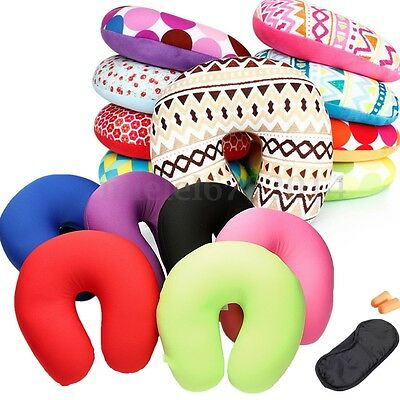 Micro Bead Travel Neck Pillow Aeroplane Car Soft Cushion With Popper U Shape UK